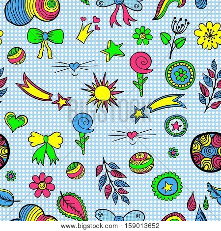 Vector seamless pattern of fashionable patches elements like heart, flower, drop, leaf, star, sun. Vector colorful hand drawn cute and funny stikers kit. Modern doodle pop art sketch badges and pins
