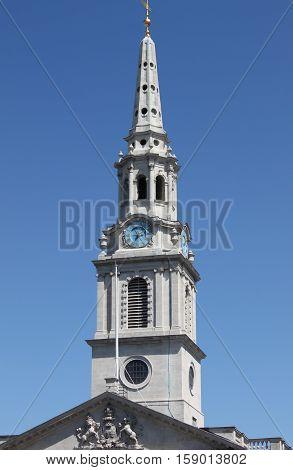 Belfry of St. Martin church in the Fields in London, UK