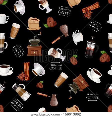 Coffee Elements Seamless Pattern. Coffee Grinder, Cinnamon, Cup, Coffee Pot, Cappuccino, Latte, Amer