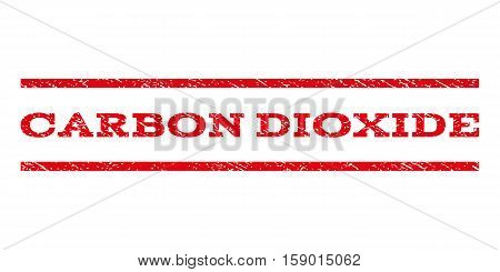 Carbon Dioxide watermark stamp. Text caption between horizontal parallel lines with grunge design style. Rubber seal stamp with scratched texture. Vector red color ink imprint on a white background.