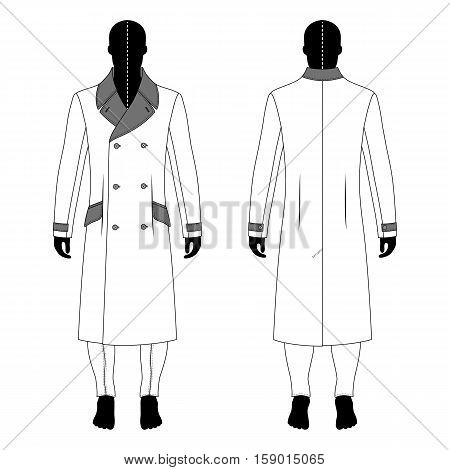 Full length man's black silhouette figure in a cloak and skinny jeans template (front & back view) vector illustration isolated on white background