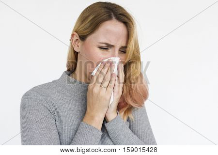 Woman Sneeze Allergy Napkin Concept