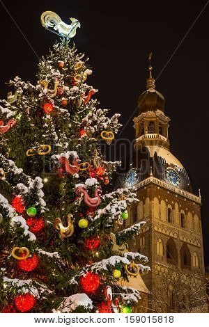 Cristmas tree with cathedral tower watches at night - decorated