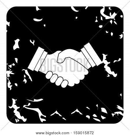 Handshake icon. Grunge illustration of handshake vector icon for web