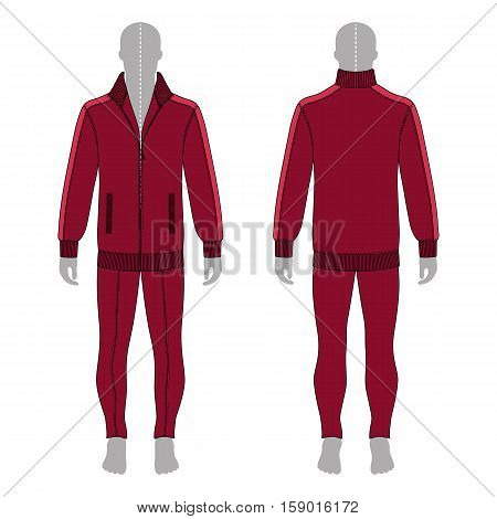 Full length man's grey silhouette figure in a burgundy jacket with zipper and skinny jeans template (front & back view) vector illustration isolated on white background