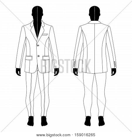 Full length man's black silhouette figure in a single breasted suit (jacket & skinny jeans) template (front & back view) vector illustration isolated on white background