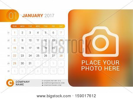 Desk Calendar For 2017 Year. January. Vector Design Print Template With Place For Photo, Logo And Co