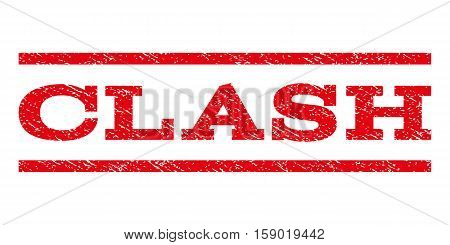 Clash watermark stamp. Text caption between horizontal parallel lines with grunge design style. Rubber seal stamp with scratched texture. Vector red color ink imprint on a white background.