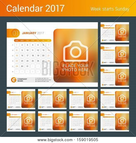 Desk Calendar For 2017 Year. Vector Design Print Template With Place For Photo, Logo And Contact Inf