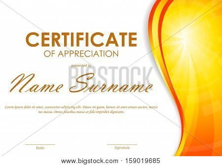 Certificate of appreciation template with orange dynamic light wavy vortex background. Vector illustration