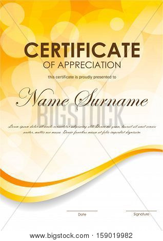 Certificate of appreciation template with blurred surface and orange wavy curve dynamic background. Vector illustration