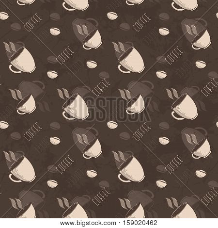 Seamless Abstract Grunge Pattern With Cup Of Coffee And Coffee Beans
