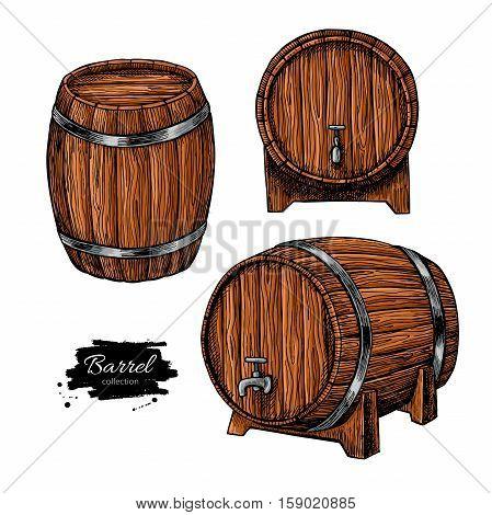 wooden barrel. Hand drawn vintage illustration in engraved style. Alcohol, wine, beer or whiskey old wood keg. Great for pub or restaurant menu, label, poster, logo.