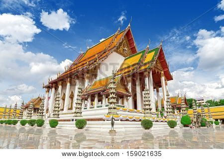 Wat Suthat Thep Wararam is a Buddhist temple. Temple at twilight in Bangkok Thailand