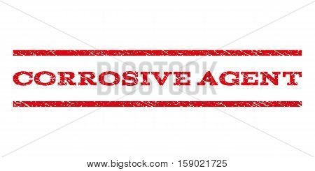 Corrosive Agent watermark stamp. Text tag between horizontal parallel lines with grunge design style. Rubber seal stamp with dirty texture. Vector red color ink imprint on a white background.
