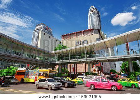 BANGKOK THAILAND -22 Oct 2016- Bangkok City. Area in front Central World. Economic center of Bangkok Thailand