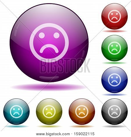 Sad emoticon color glass sphere buttons with shadows.