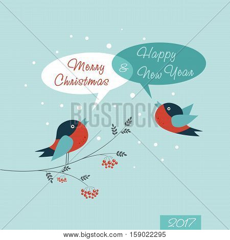 Christmas Greeting Card. Happy New Year. Merry Christmas lettering vector illustration
