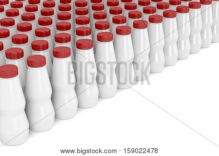 Multiple rows with plastic bottles for yogurt milk or other liquids, 3D illustration