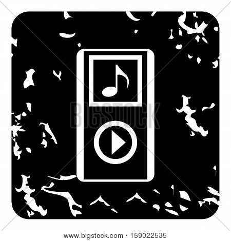 Audio player icon. Grunge illustration of audio player vector icon for web