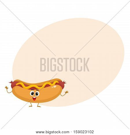 Funny hot dog fast food kids menu character, cartoon style vector illustration on yellow background with place for text. Funny hot dog, wiener, frankfurter character with eyes, legs, and a wide smile