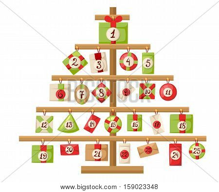 Christmas Advent Calendar With Santa Claus, Reindeer, Snowman And Gift Advent Calendar With Christma