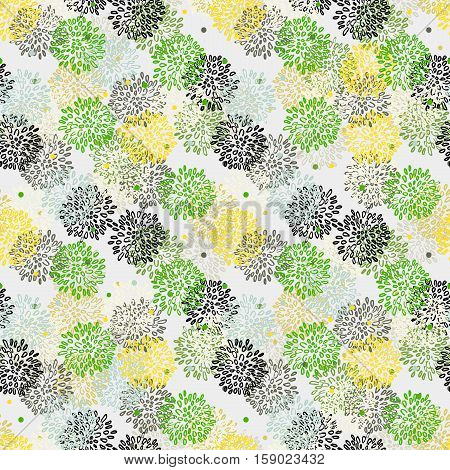 Abstract Floral Yellow Green Black And Gray Pattern