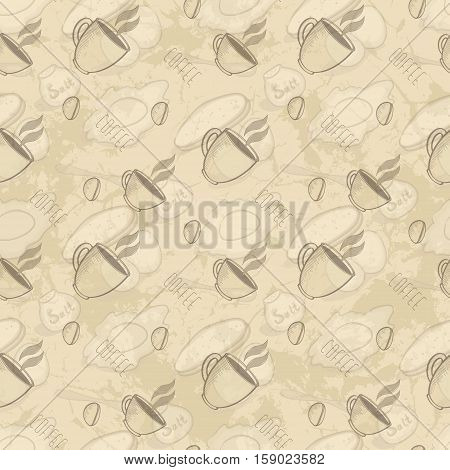 Seamless Abstract Grunge Pattern With Cup Of Coffee Coffee Beans Scrambled Eggs And Bread