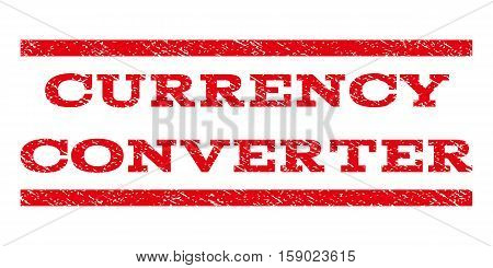 Currency Converter watermark stamp. Text caption between horizontal parallel lines with grunge design style. Rubber seal stamp with scratched texture.