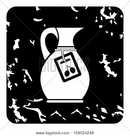Jug with olive oil icon. Grunge illustration of jug with olive oil vector icon for web
