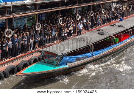 BANGKOK THAILAND - 22 Oct 2016 - the khlong saen saeb in the city centre in Pratunam in the city of Bangkok in Thailand.