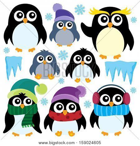 Stylized winter penguins set 1 - eps10 vector illustration.