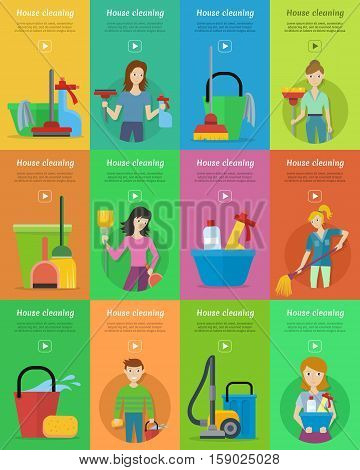 Set of house cleaning banners. Man and woman with cleaning equipment and detergent. House cleaning service, professional office cleaning, home cleaning illustration in flat. Vertical website template