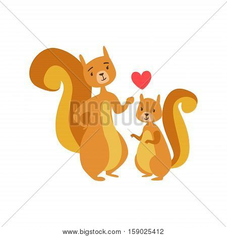 Squirrel Dad Animal Parent And Its Baby Calf Parenthood Themed Colorful Illustration With Cartoon Fauna Characters. Smiling Zoo Wildlife Loving Family Members United With Heart Symbol Vector Drawing