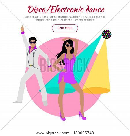 Disco and electronic dance conceptual banner in flat design. Dance music, club music. Party and dancer, couple and entertainment, event fashion, music nightlife and popular leisure illustration. Vector
