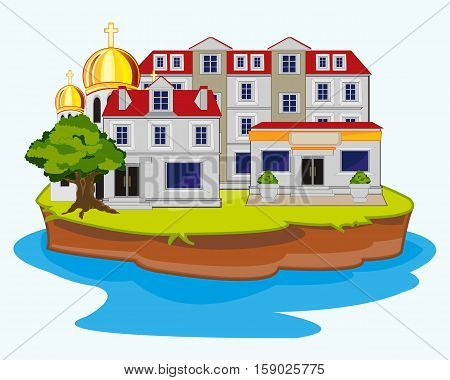 The Small island in ocean and city on him.Vector illustration