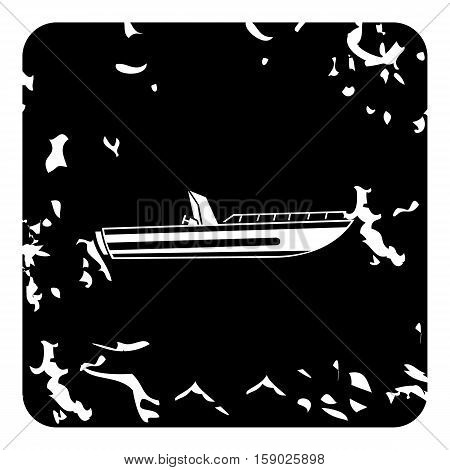 Powerboat icon. Grunge illustration of powerboat vector icon for web