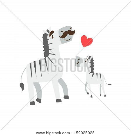 Zebra Dad With Moustache Animal Parent And Its Baby Calf Parenthood Themed Colorful Illustration With Cartoon Fauna Characters. Smiling Zoo Wildlife Loving Family Members United With Heart Symbol Vector Drawing