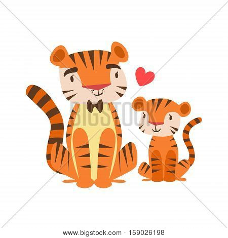 Tiger Dad In Bow Tie Animal Parent And Its Baby Calf Parenthood Themed Colorful Illustration With Cartoon Fauna Characters. Smiling Zoo Wildlife Loving Family Members United With Heart Symbol Vector Drawing
