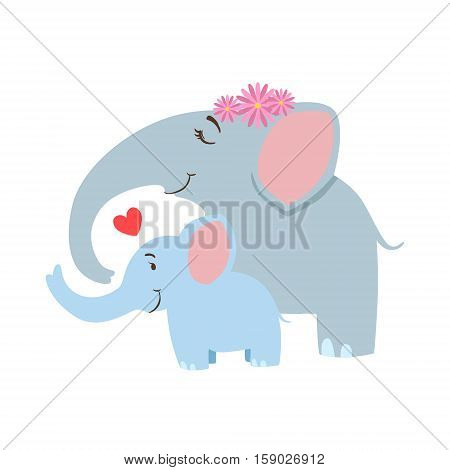 Elephant Mom With Frower Wreath Animal Parent And Its Baby Calf Parenthood Themed Colorful Illustration With Cartoon Fauna Characters. Smiling Zoo Wildlife Loving Family Members United With Heart Symbol Vector Drawing