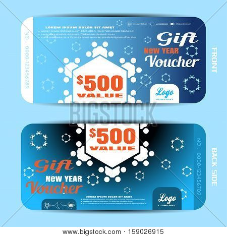 Vector gift new year voucher on the blue gradient background with snowflakes silhouettes.