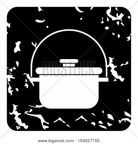 Cooking cauldron icon. Grunge illustration of cooking cauldron vector icon for web