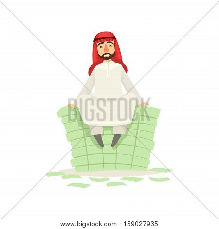 Arabic Muslim Businessman Dressed In Traditional Thwab Clothes And Wearing Headdress Kufiya Working In Financial Business Sphere Sitting On Pile Of Money. Cartoon Arab Rich Sheikh Character In Islamic Outfit Flat Vector Illustration.