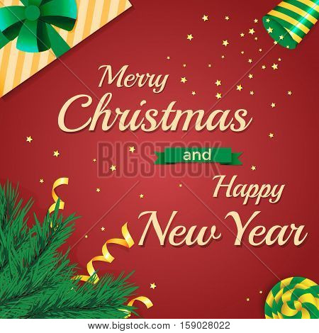 Merry Christmas and Happy New Year 2017. Fir branches, gift, party popper and lollipop