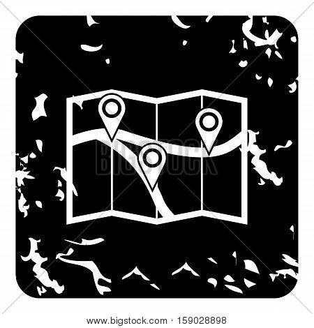 Map with pin pointers icon. Grunge illustration of map with red pin pointers vector icon for web
