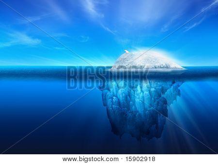 A polar bear on top of a natural iceberg glacier on the North Atlantic.