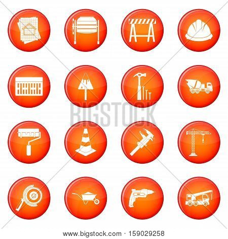 Architecture icons vector set of red circles isolated on white background