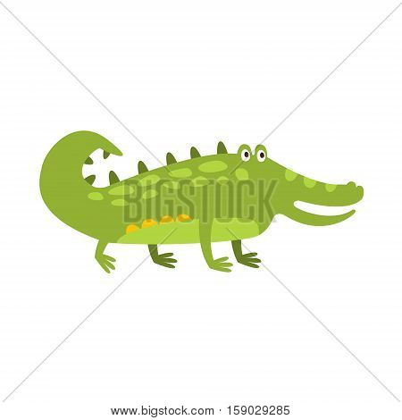 Crocodile Standing On Four Legs Flat Cartoon Green Friendly Reptile Animal Character Drawing. Part Of Alligator And Its Different Positions And Activities Collection Of Childish Fauna Colorful Vector Illustrations.