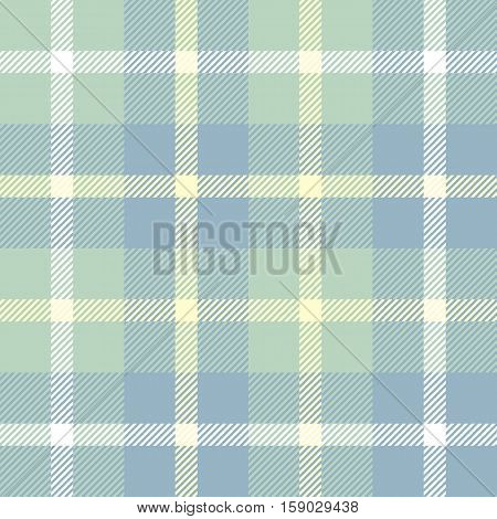 Seamless tartan plaid. Checkered fabric texture background in faded pastel palette of pale green, blue, yellow & white.