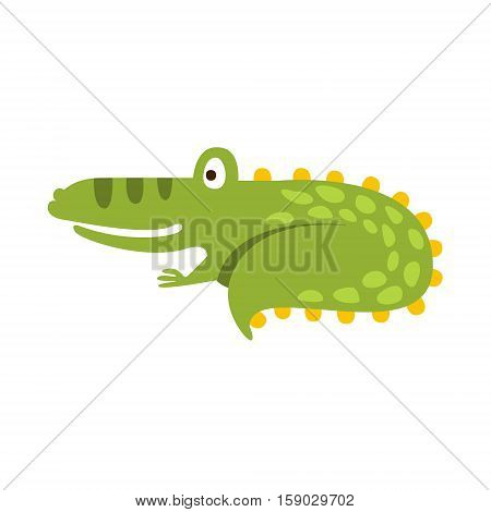 Crocodile Curling Up Like Cat Flat Cartoon Green Friendly Reptile Animal Character Drawing. Part Of Alligator And Its Different Positions And Activities Collection Of Childish Fauna Colorful Vector Illustrations.